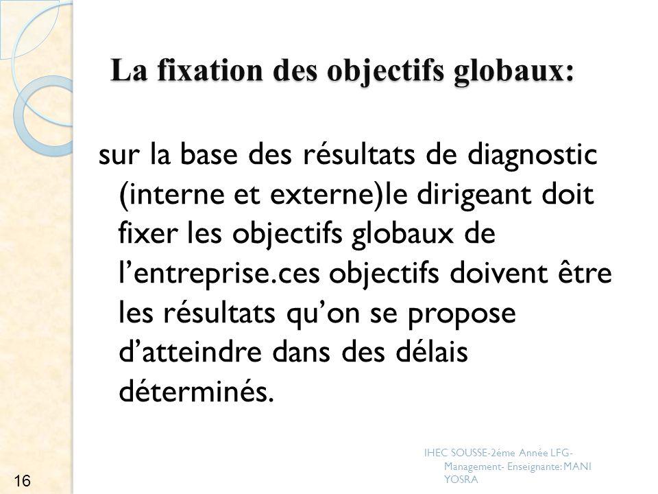 La fixation des objectifs globaux: sur la base des résultats de diagnostic (interne et externe)le dirigeant doit fixer les objectifs globaux de lentre