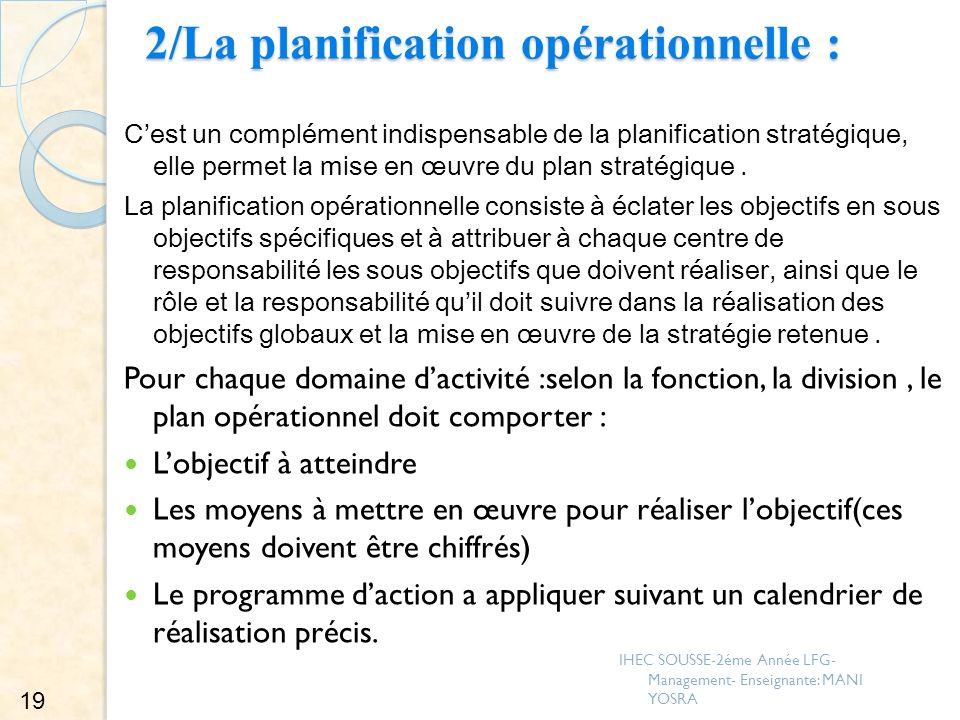 2/La planification opérationnelle : Cest un complément indispensable de la planification stratégique, elle permet la mise en œuvre du plan stratégique