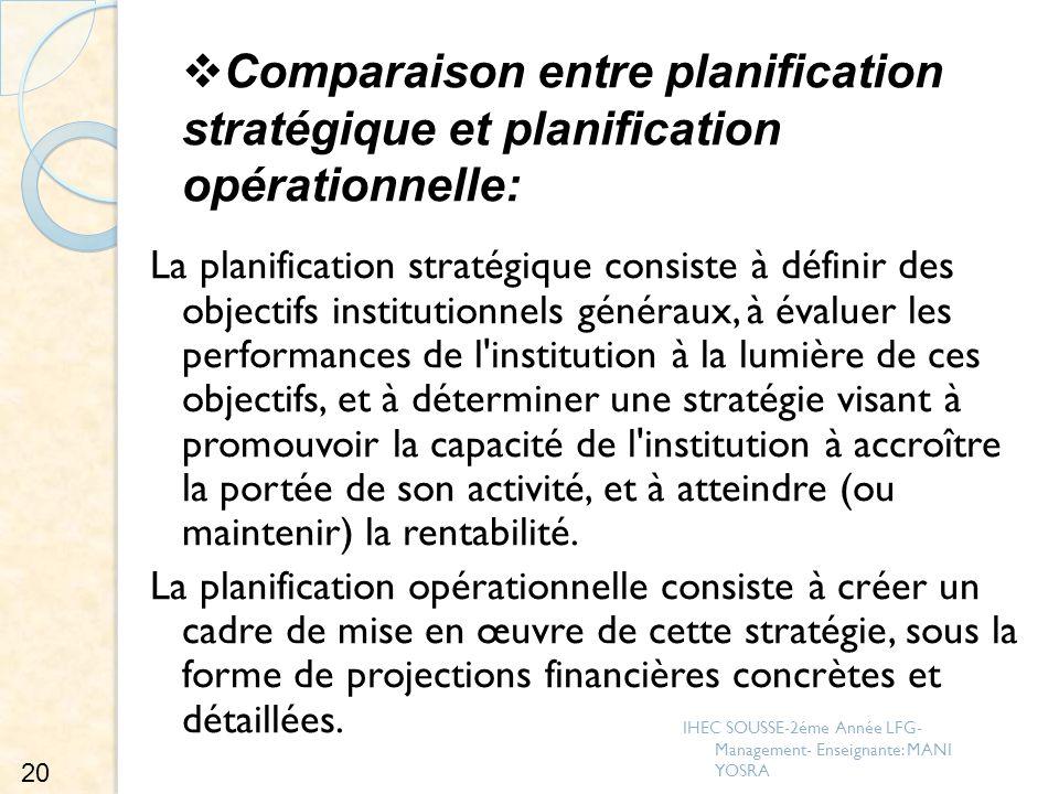 Comparaison entre planification stratégique et planification opérationnelle: La planification stratégique consiste à définir des objectifs institution