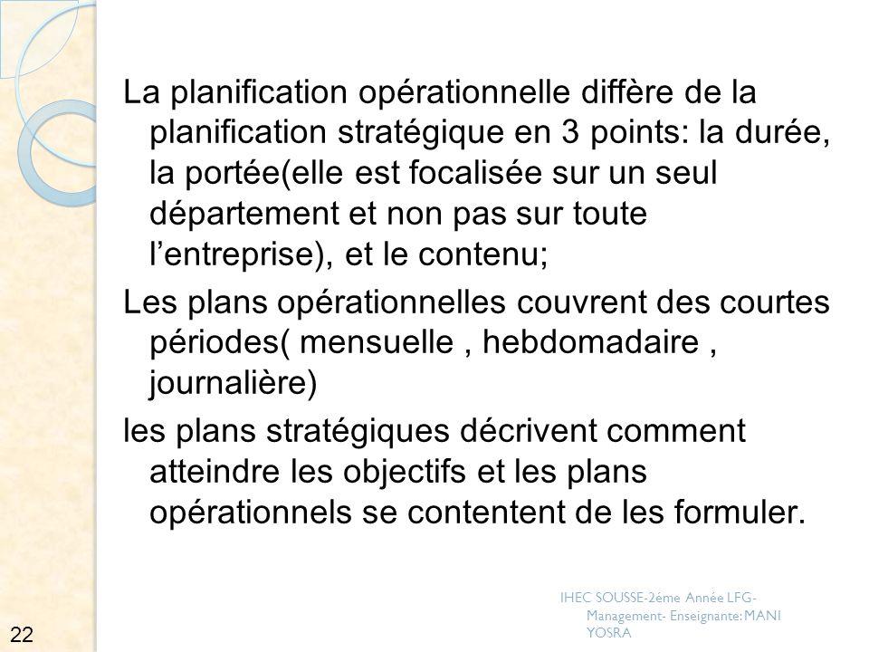 La planification opérationnelle diffère de la planification stratégique en 3 points: la durée, la portée(elle est focalisée sur un seul département et