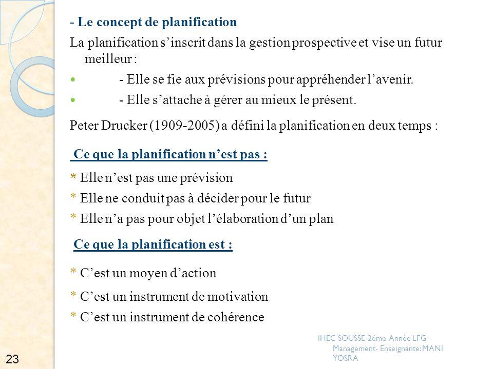- Le concept de planification La planification sinscrit dans la gestion prospective et vise un futur meilleur : - Elle se fie aux prévisions pour appr
