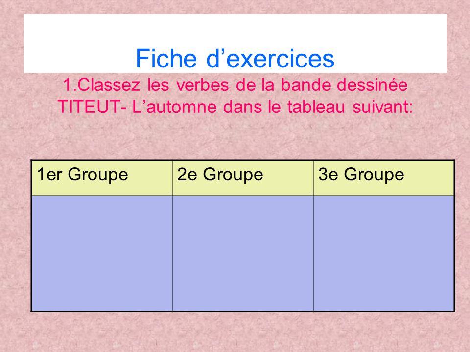 Fiche dexercices 1.Classez les verbes de la bande dessinée TITEUT- Lautomne dans le tableau suivant: 1er Groupe2e Groupe3e Groupe