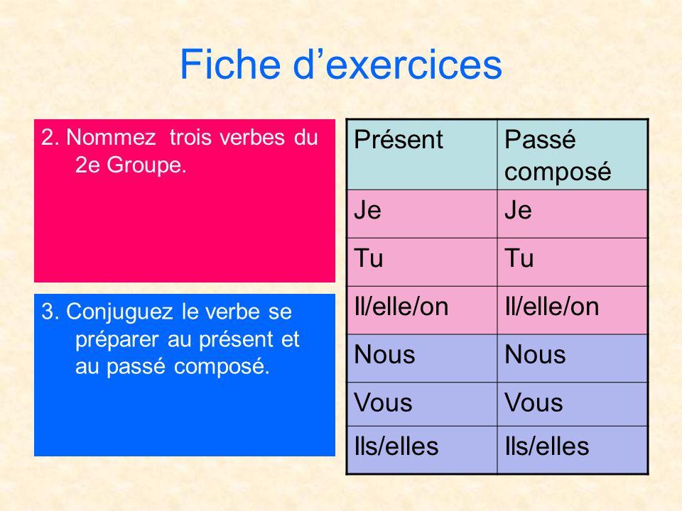 Fiche dexercices 2. Nommez trois verbes du 2e Groupe. 3. Conjuguez le verbe se préparer au présent et au passé composé. PrésentPassé composé Je Tu Il/