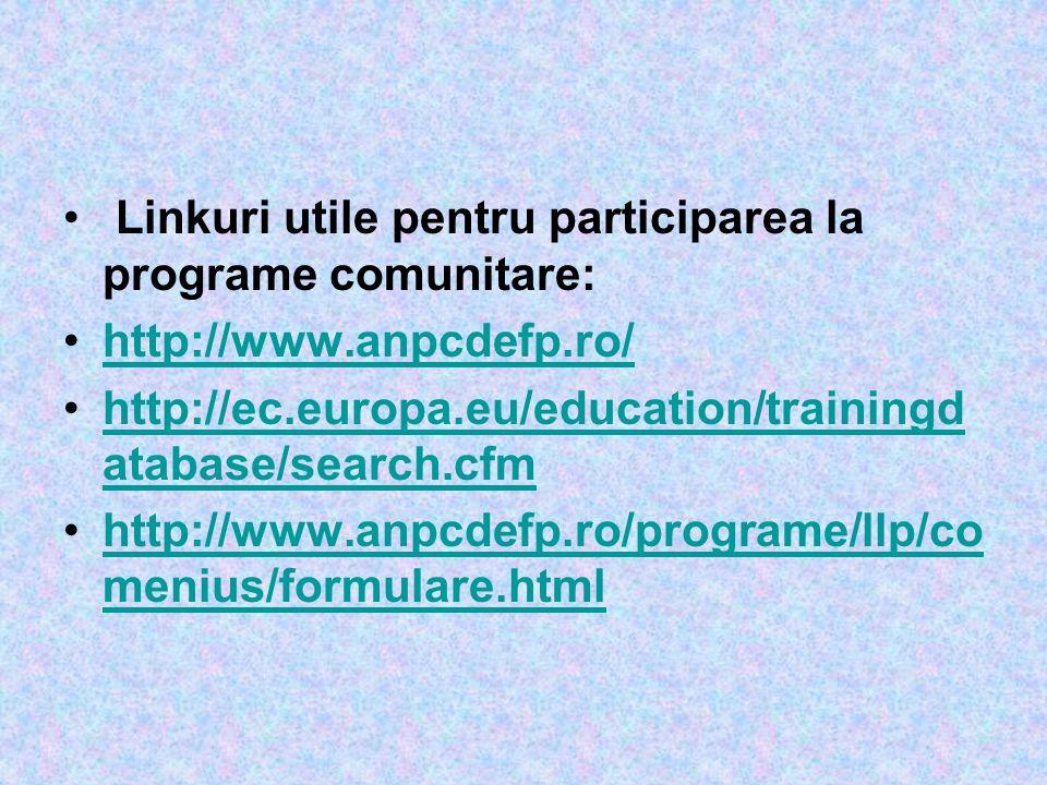 Linkuri utile pentru participarea la programe comunitare: http://www.anpcdefp.ro/ http://ec.europa.eu/education/trainingd atabase/search.cfmhttp://ec.