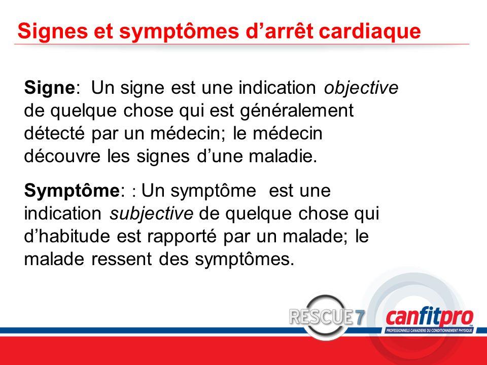 CPR Course Level 1 Signes et symptômes darrêt cardiaque Signe: Un signe est une indication objective de quelque chose qui est généralement détecté par