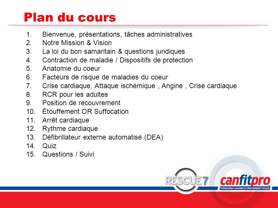 CPR Course Level 1 Plan du cours 1.Bienvenue, présentations, tâches administratives 2.Notre Mission & Vision 3.La loi du bon samaritain & questions ju