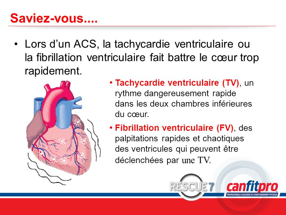 CPR Course Level 1 Saviez-vous.... Lors dun ACS, la tachycardie ventriculaire ou la fibrillation ventriculaire fait battre le cœur trop rapidement. Ta