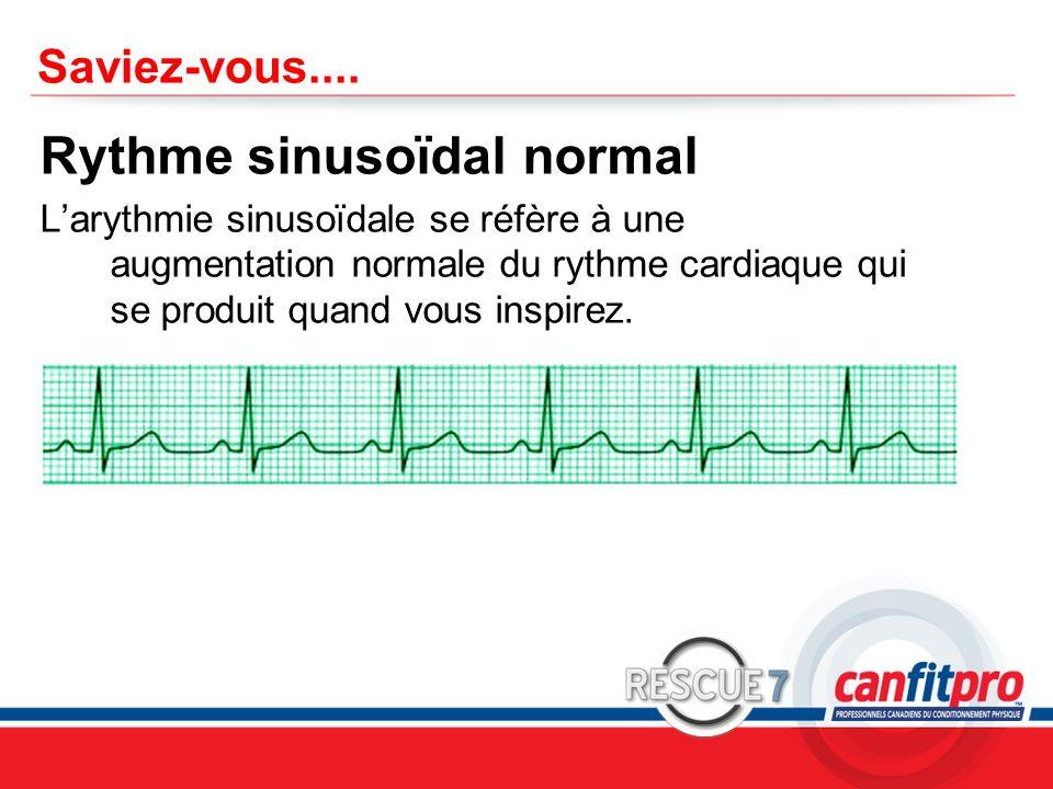CPR Course Level 1 Saviez-vous.... Rythme sinusoïdal normal Larythmie sinusoïdale se réfère à une augmentation normale du rythme cardiaque qui se prod