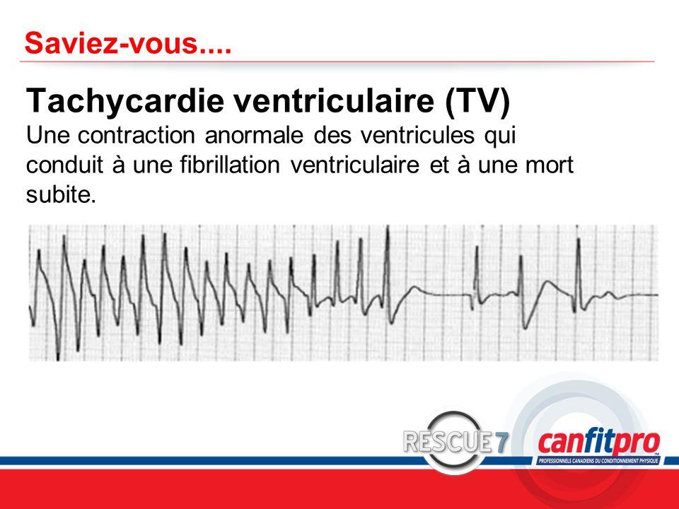 CPR Course Level 1 Saviez-vous.... Tachycardie ventriculaire (TV) Une contraction anormale des ventricules qui conduit à une fibrillation ventriculair