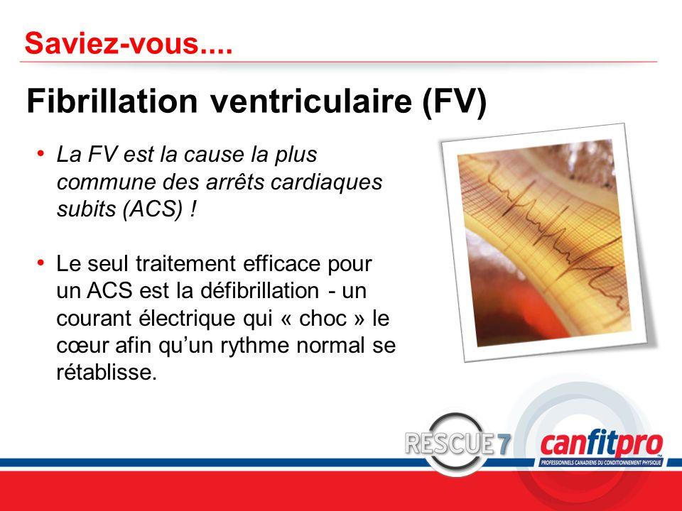 CPR Course Level 1 Saviez-vous.... Fibrillation ventriculaire (FV) La FV est la cause la plus commune des arrêts cardiaques subits (ACS) ! Le seul tra