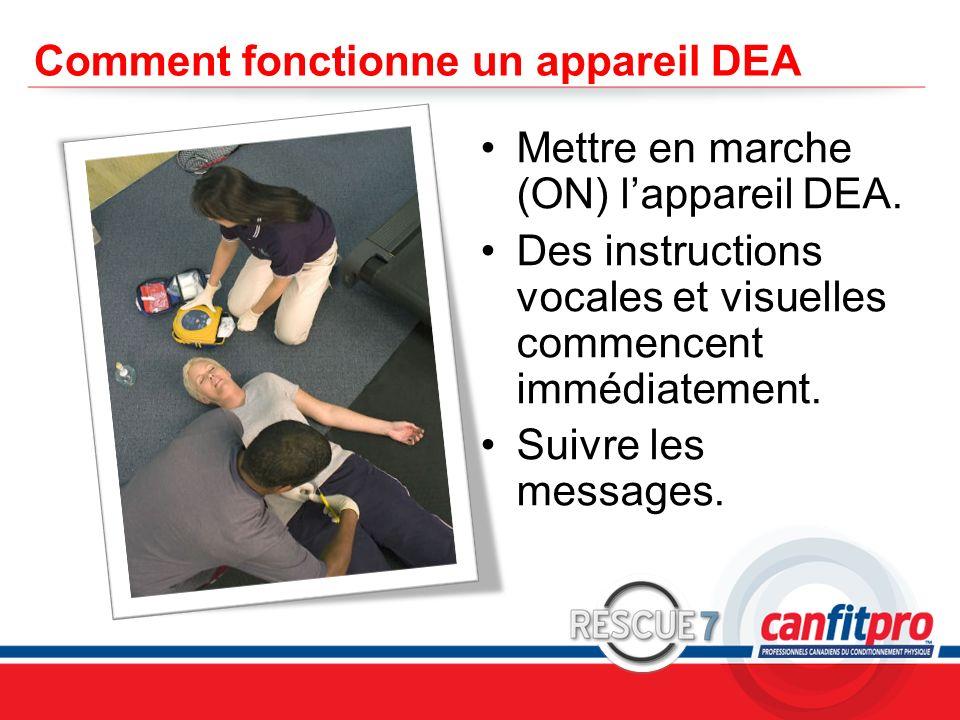CPR Course Level 1 Comment fonctionne un appareil DEA Mettre en marche (ON) lappareil DEA. Des instructions vocales et visuelles commencent immédiatem