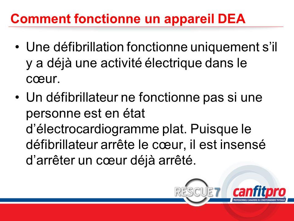 CPR Course Level 1 Comment fonctionne un appareil DEA Une défibrillation fonctionne uniquement sil y a déjà une activité électrique dans le cœur. Un d