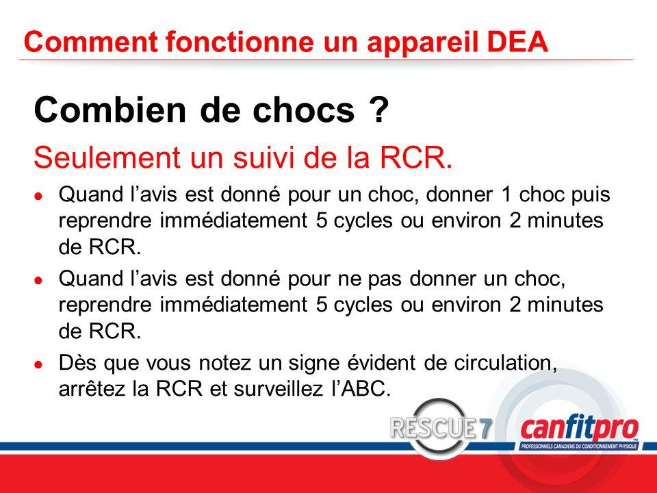 CPR Course Level 1 Comment fonctionne un appareil DEA Combien de chocs ? Seulement un suivi de la RCR. Quand lavis est donné pour un choc, donner 1 ch