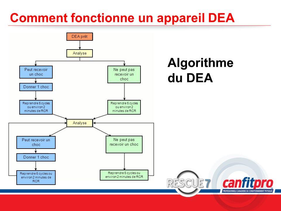 CPR Course Level 1 Comment fonctionne un appareil DEA Algorithme du DEA DEA prêt Analyse Peut recevoir un choc Reprendre 5 cycles ou environ 2 minutes