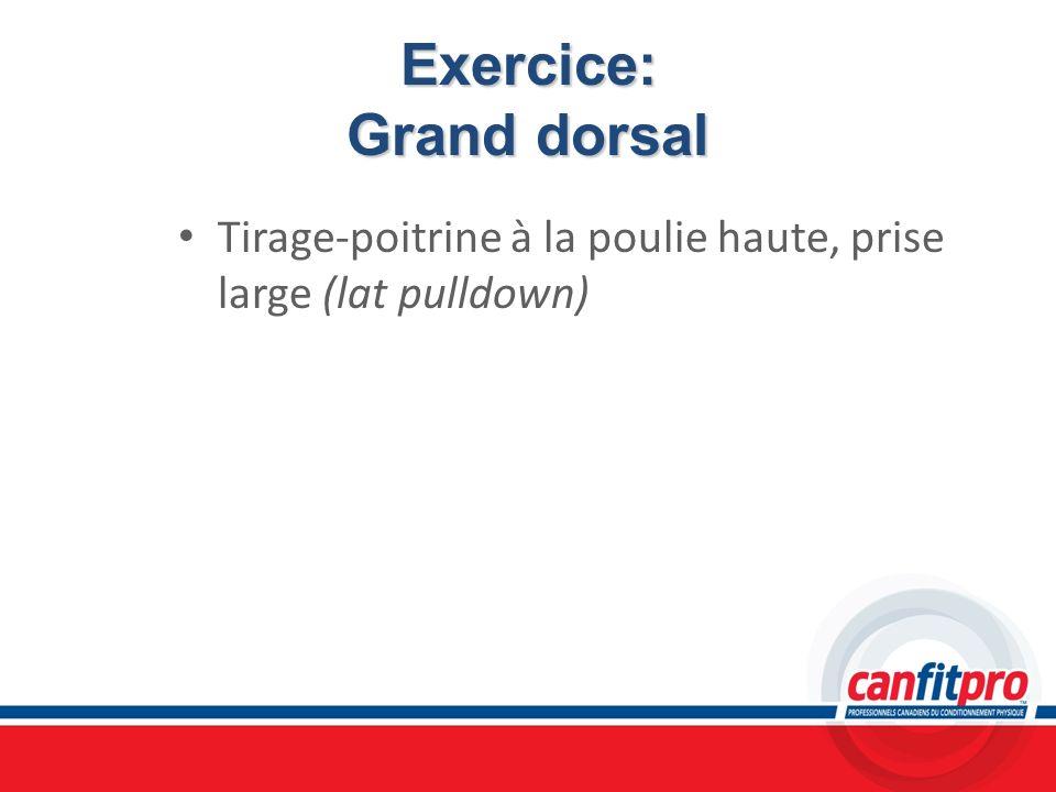 Exercice: Grand dorsal Tirage-poitrine à la poulie haute, prise large (lat pulldown)