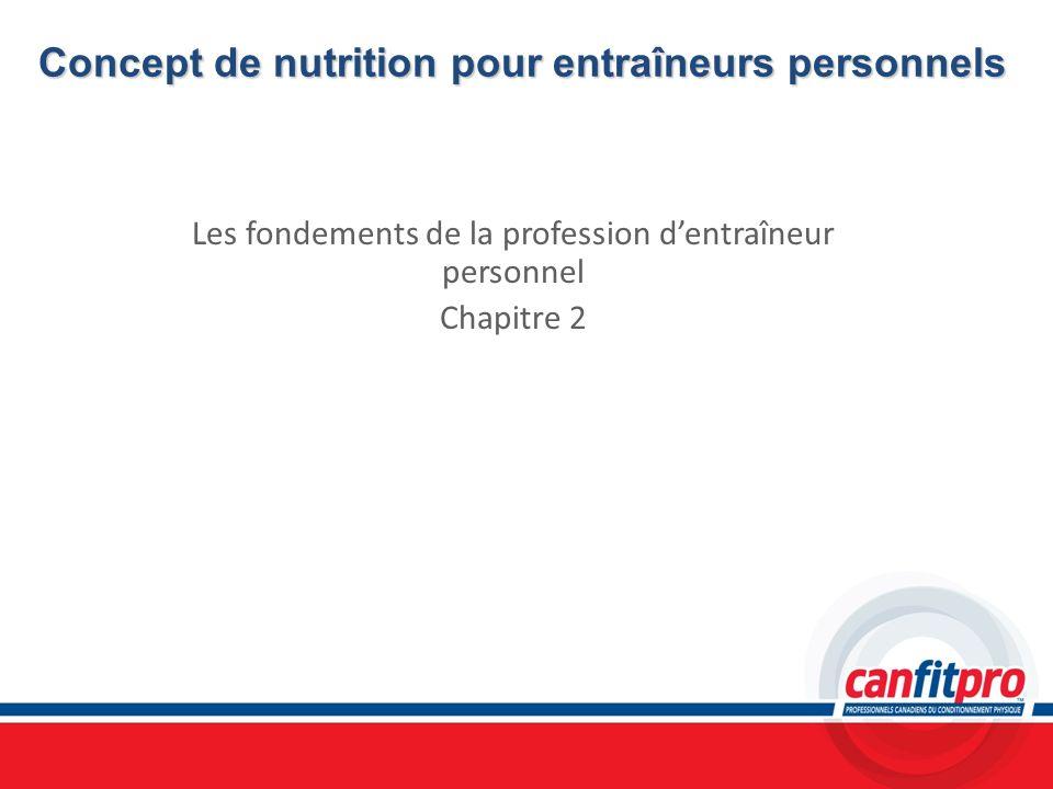 Concept de nutrition pour entraîneurs personnels Les fondements de la profession dentraîneur personnel Chapitre 2