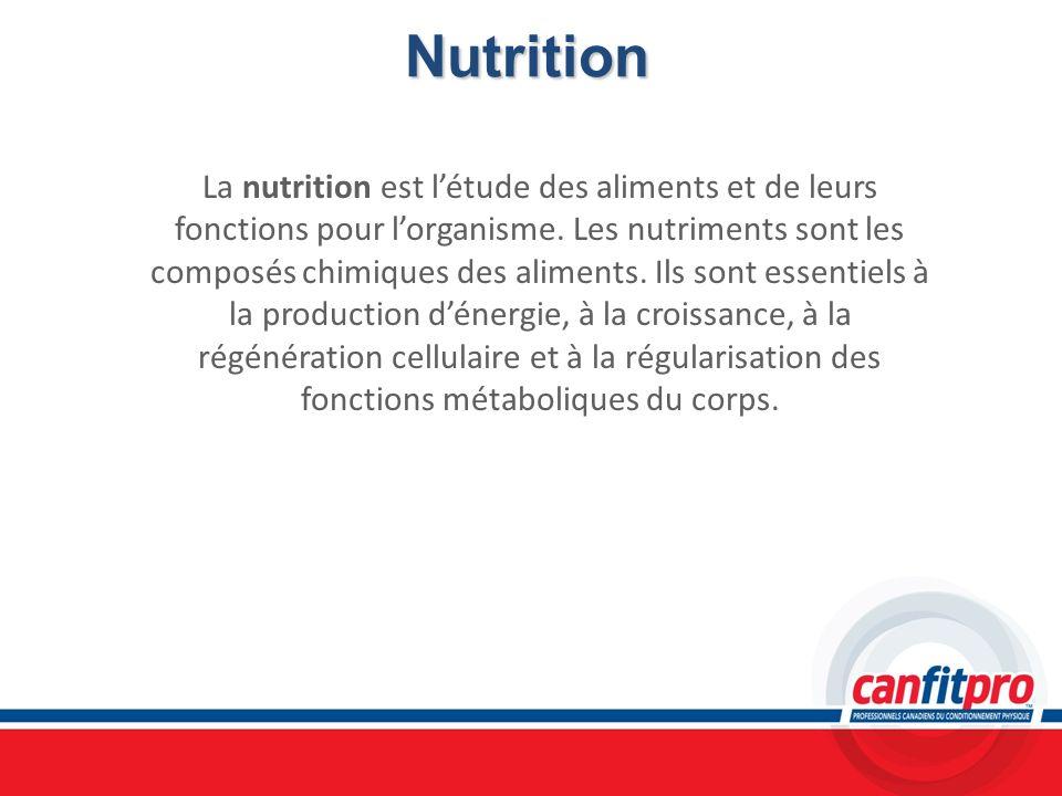Nutrition La nutrition est létude des aliments et de leurs fonctions pour lorganisme. Les nutriments sont les composés chimiques des aliments. Ils son
