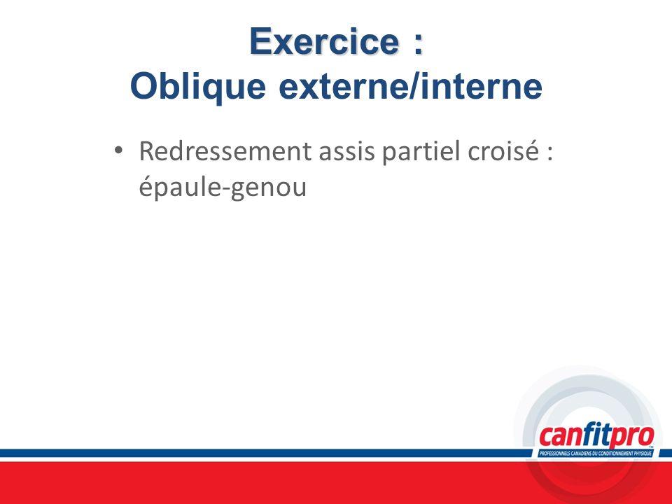 Exercice : Exercice : Oblique externe/interne Redressement assis partiel croisé : épaule-genou