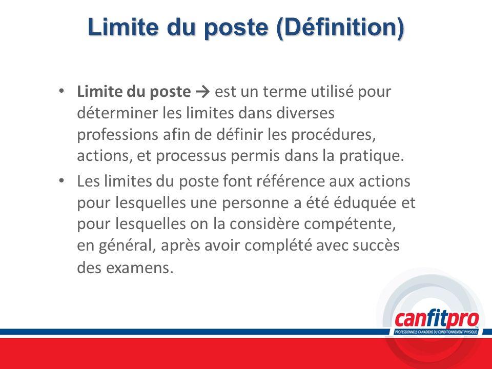 Limite du poste(Définition) Limite du poste (Définition) Limite du poste est un terme utilisé pour déterminer les limites dans diverses professions af