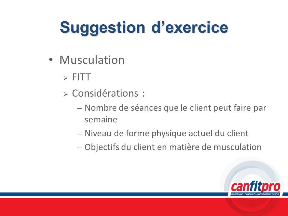 Suggestion dexercice Musculation FITT Considérations : – Nombre de séances que le client peut faire par semaine – Niveau de forme physique actuel du c
