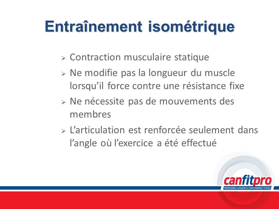 Entraînement isométrique Contraction musculaire statique Ne modifie pas la longueur du muscle lorsquil force contre une résistance fixe Ne nécessite p