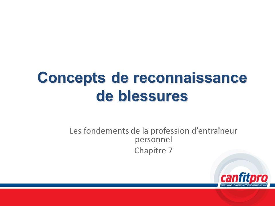 Concepts de reconnaissance de blessures Les fondements de la profession dentraîneur personnel Chapitre 7