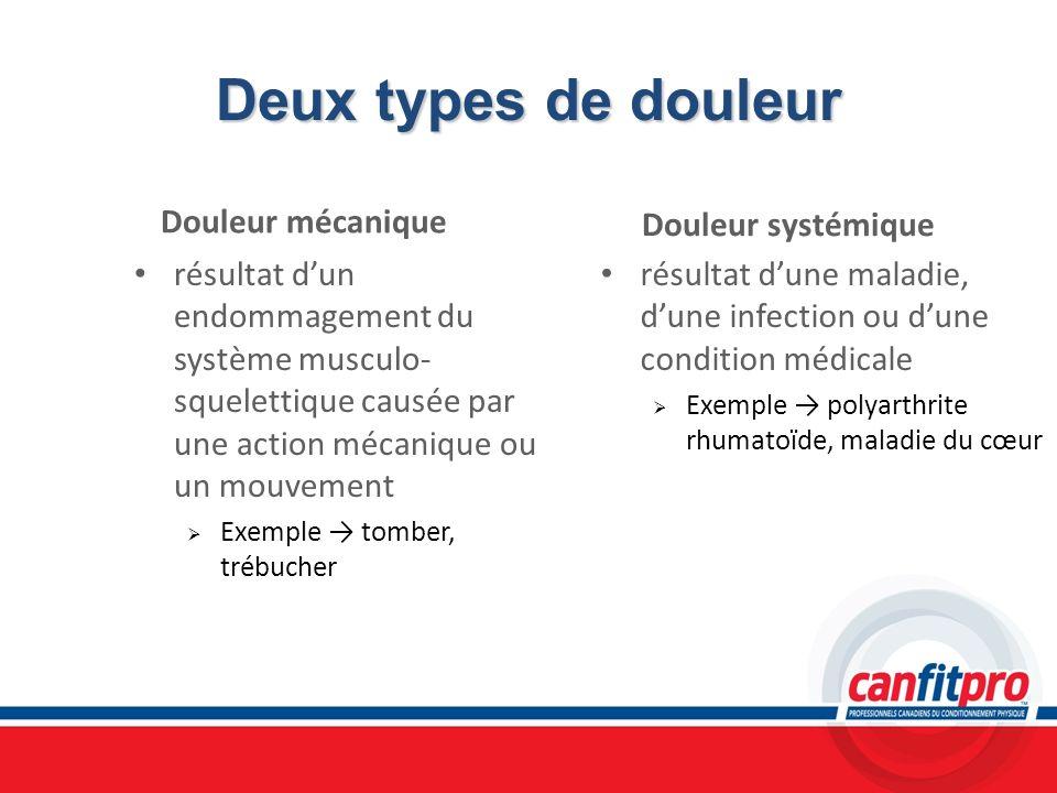 Deux types de douleur Douleur mécanique résultat dun endommagement du système musculo- squelettique causée par une action mécanique ou un mouvement Ex