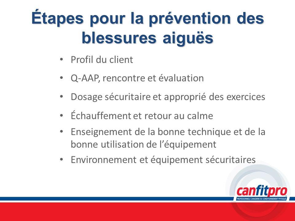 Étapes pour la prévention des blessures aiguës Profil du client Q-AAP, rencontre et évaluation Dosage sécuritaire et approprié des exercices Échauffem