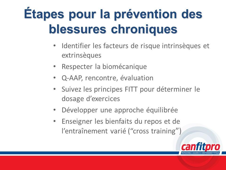 Étapes pour la prévention des blessures chroniques Identifier les facteurs de risque intrinsèques et extrinsèques Respecter la biomécanique Q-AAP, ren
