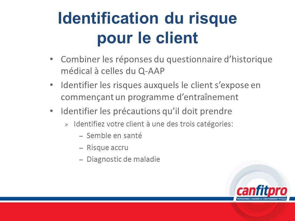 Identification du risque pour le client Combiner les réponses du questionnaire dhistorique médical à celles du Q-AAP Identifier les risques auxquels l