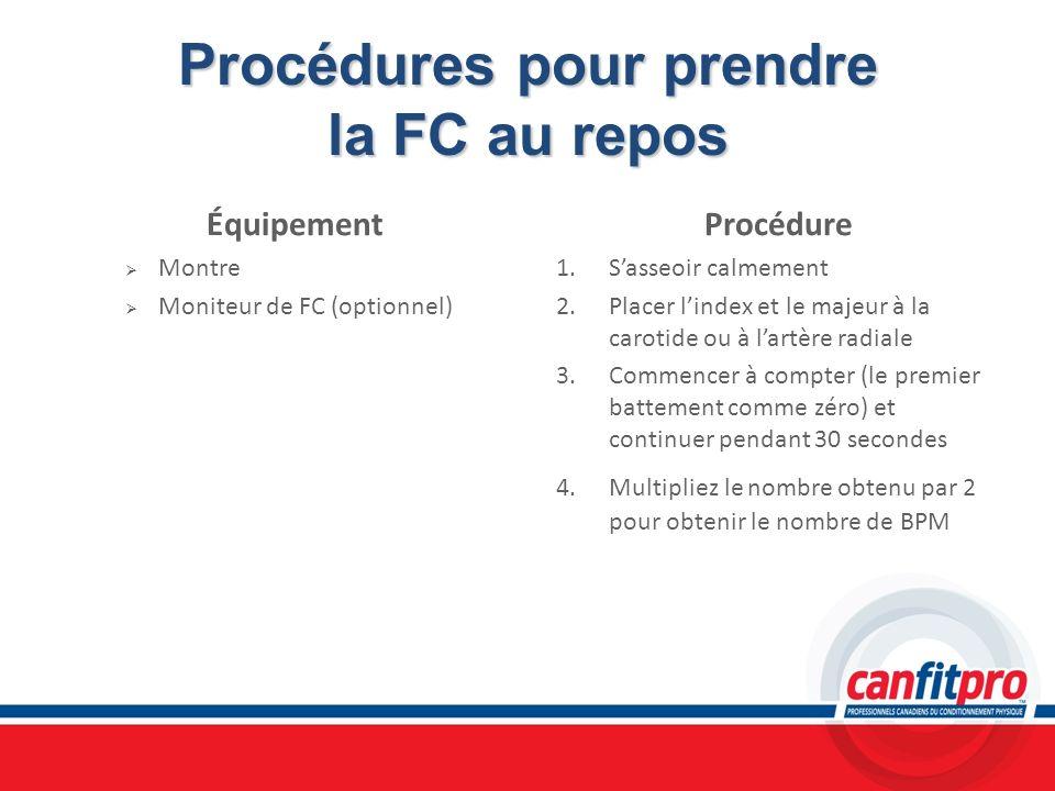 Procédures pour prendre la FC au repos Équipement Montre Moniteur de FC (optionnel) Procédure 1. Sasseoir calmement 2. Placer lindex et le majeur à la