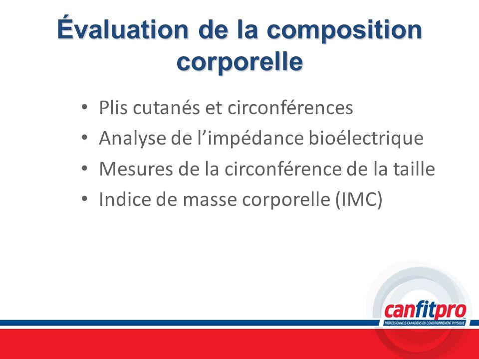 Évaluation de la composition corporelle Plis cutanés et circonférences Analyse de limpédance bioélectrique Mesures de la circonférence de la taille In