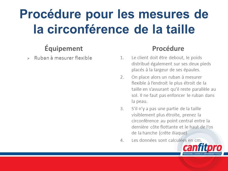 Procédure pour les mesures de la circonférence de la taille Équipement Ruban à mesurer flexible Procédure 1. Le client doit être debout, le poids dist