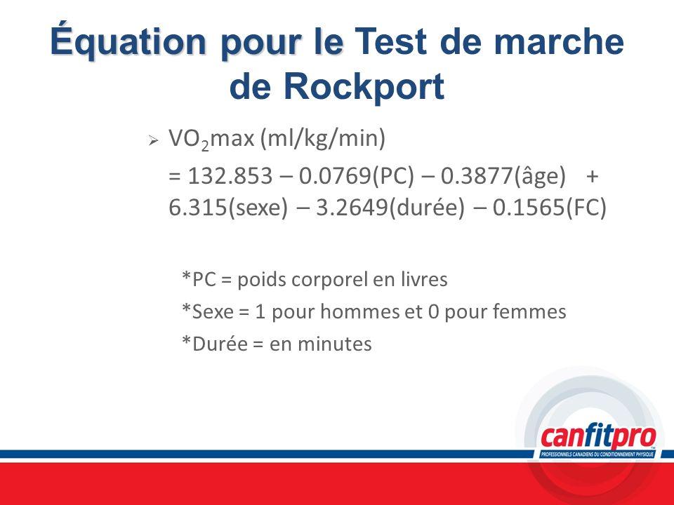 Équation pour le Équation pour le Test de marche de Rockport VO 2 max (ml/kg/min) = 132.853 – 0.0769(PC) – 0.3877(âge) + 6.315(sexe) – 3.2649(durée) –