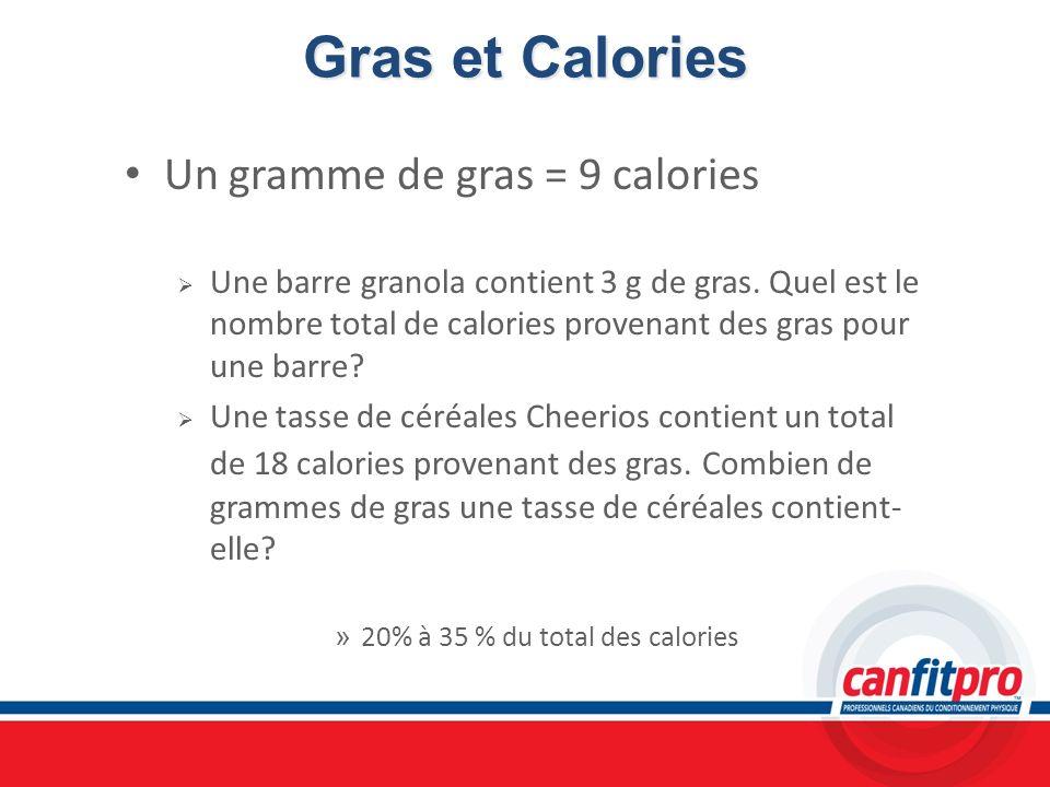 Gras et Calories Un gramme de gras = 9 calories Une barre granola contient 3 g de gras. Quel est le nombre total de calories provenant des gras pour u