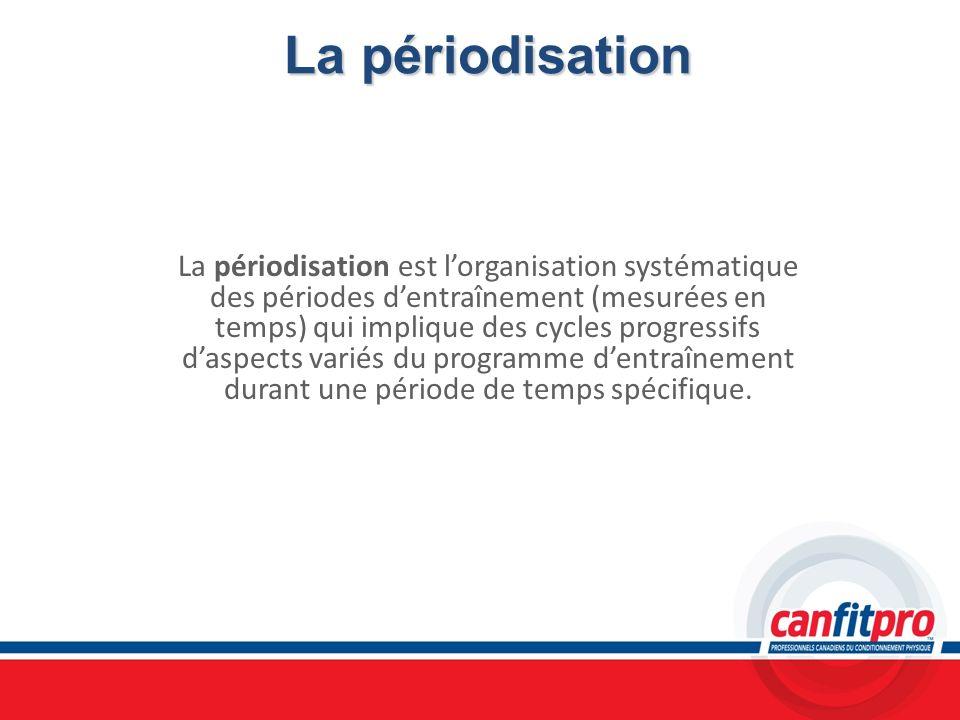 La périodisation La périodisation est lorganisation systématique des périodes dentraînement (mesurées en temps) qui implique des cycles progressifs da