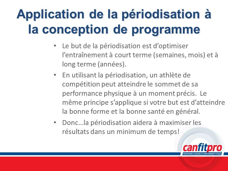 Application de la périodisation à la conception de programme Le but de la périodisation est doptimiser lentraînement à court terme (semaines, mois) et