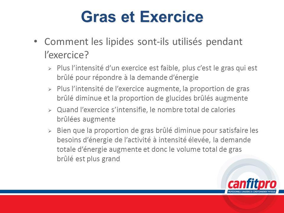 Gras et Exercice Comment les lipides sont-ils utilisés pendant lexercice? Plus lintensité dun exercice est faible, plus cest le gras qui est brûlé pou