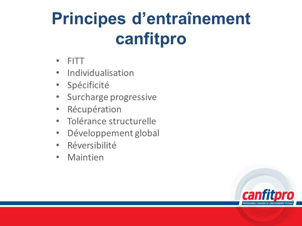 Principes dentraînement canfitpro FITT Individualisation Spécificité Surcharge progressive Récupération Tolérance structurelle Développement global Ré