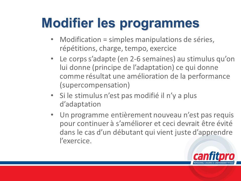 Modifier les programmes Modification = simples manipulations de séries, répétitions, charge, tempo, exercice Le corps sadapte (en 2-6 semaines) au sti