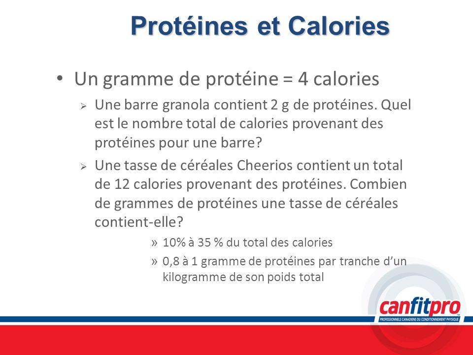 Protéines et Calories Un gramme de protéine = 4 calories Une barre granola contient 2 g de protéines. Quel est le nombre total de calories provenant d