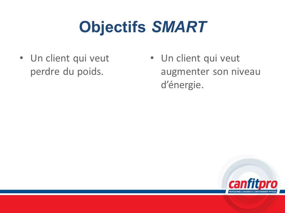 Objectifs SMART Un client qui veut perdre du poids. Un client qui veut augmenter son niveau dénergie.