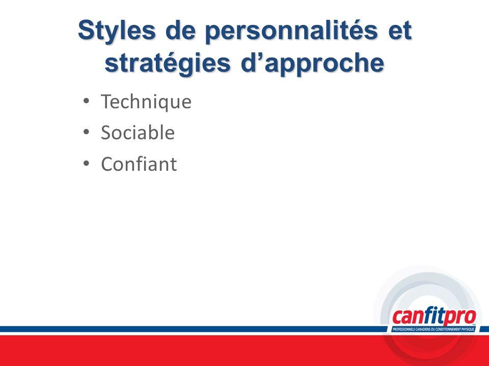 Styles de personnalités et stratégies dapproche Technique Sociable Confiant