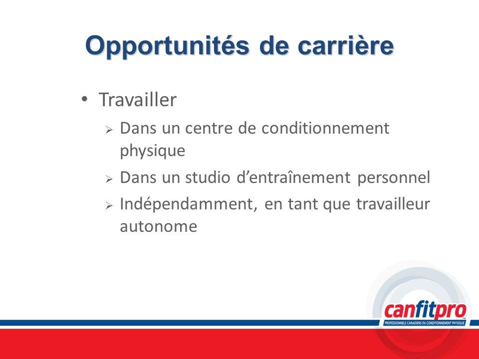 Opportunités de carrière Travailler Dans un centre de conditionnement physique Dans un studio dentraînement personnel Indépendamment, en tant que trav