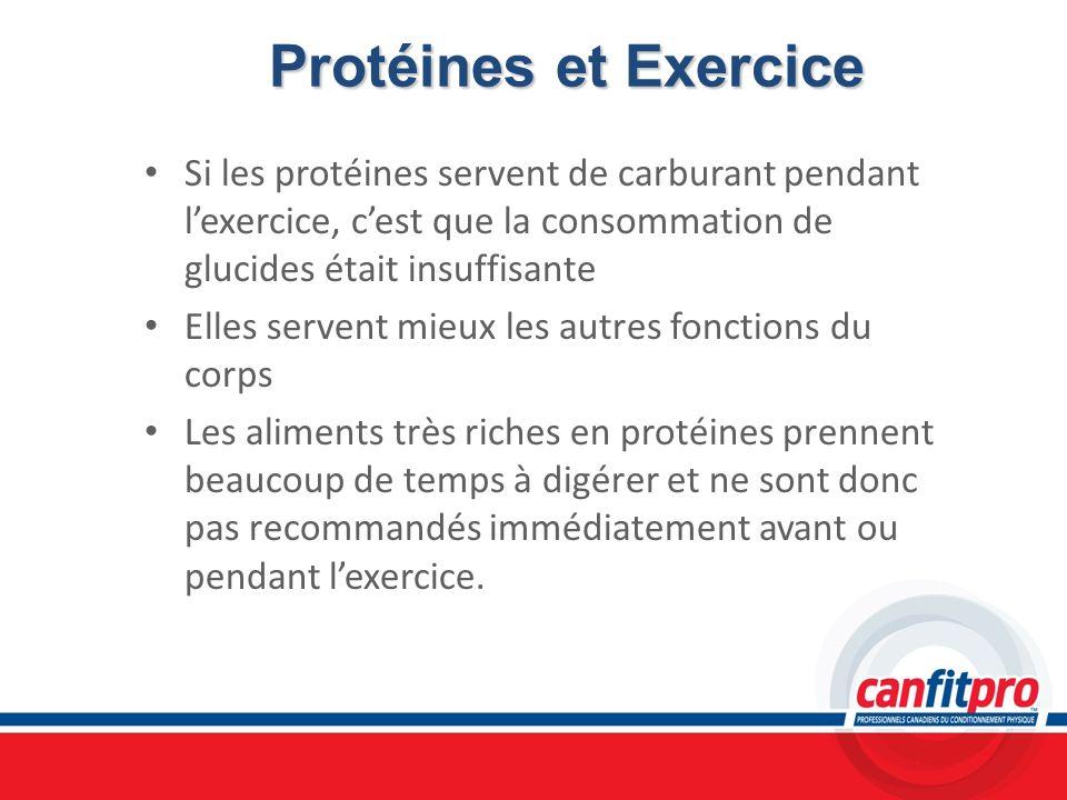 Protéines et Exercice Protéines et Exercice Si les protéines servent de carburant pendant lexercice, cest que la consommation de glucides était insuff