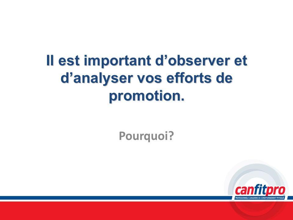 Il est important dobserver et danalyser vos efforts de promotion. Pourquoi?