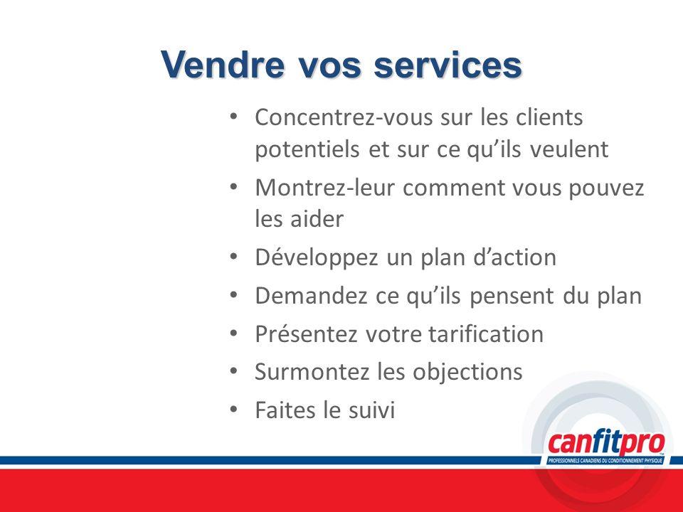 Vendre vos services Concentrez-vous sur les clients potentiels et sur ce quils veulent Montrez-leur comment vous pouvez les aider Développez un plan d