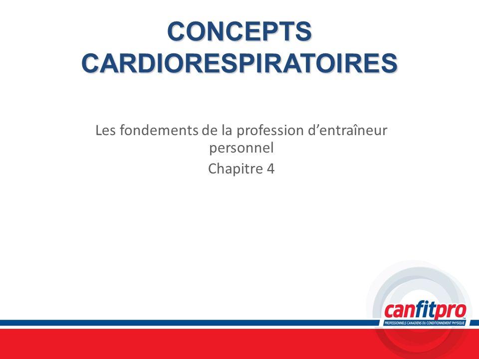 CONCEPTS CARDIORESPIRATOIRES Les fondements de la profession dentraîneur personnel Chapitre 4