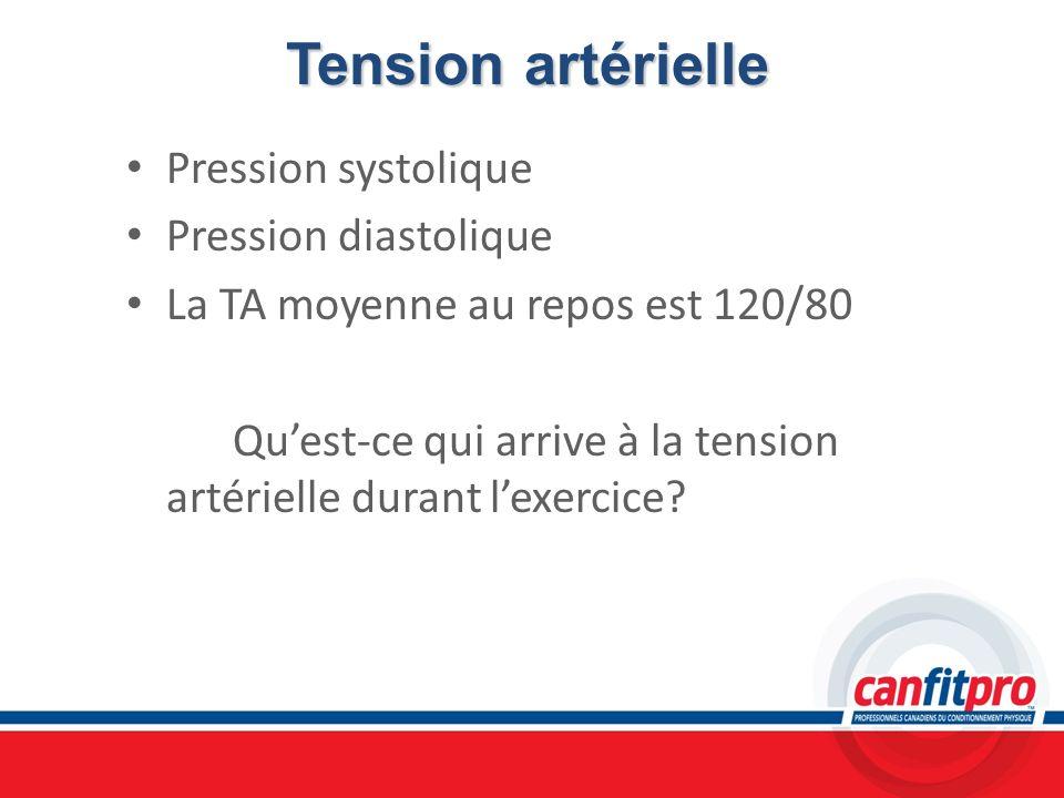 Tension artérielle Pression systolique Pression diastolique La TA moyenne au repos est 120/80 Quest-ce qui arrive à la tension artérielle durant lexer