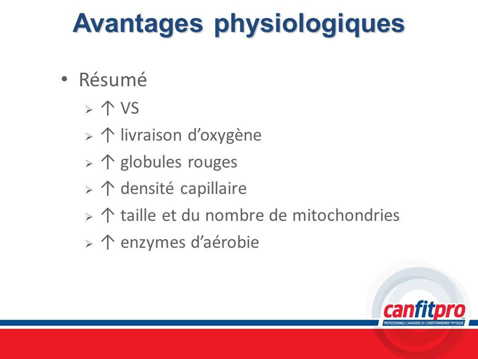 Avantages physiologiques Résumé VS livraison doxygène globules rouges densité capillaire taille et du nombre de mitochondries enzymes daérobie